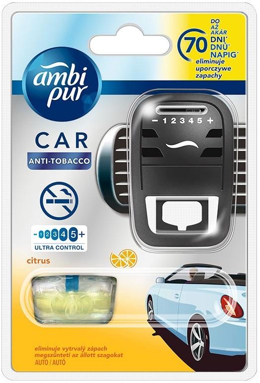 Fotografie Ambi Pur Car Anti Tobacco Citrus osvěžovač vzduchu do auta strojek s náplní 7 ml