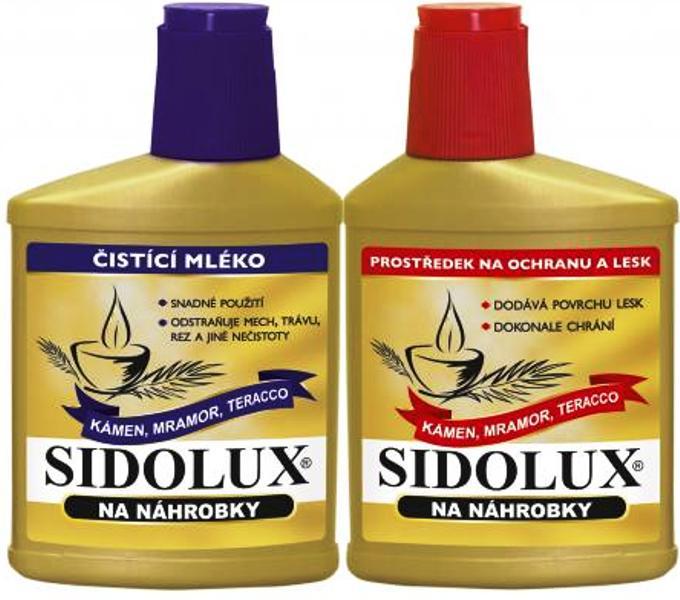 Fotografie Sidolux duo na náhrobky zlatá linie (čistota+lesk) 330 g + 250 ml