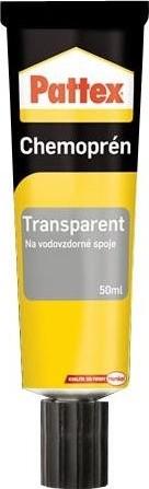 Fotografie Pattex Chemoprén Transparent lepidlo na vodovzdorné spoje kombinace materiálů tuba 50 ml