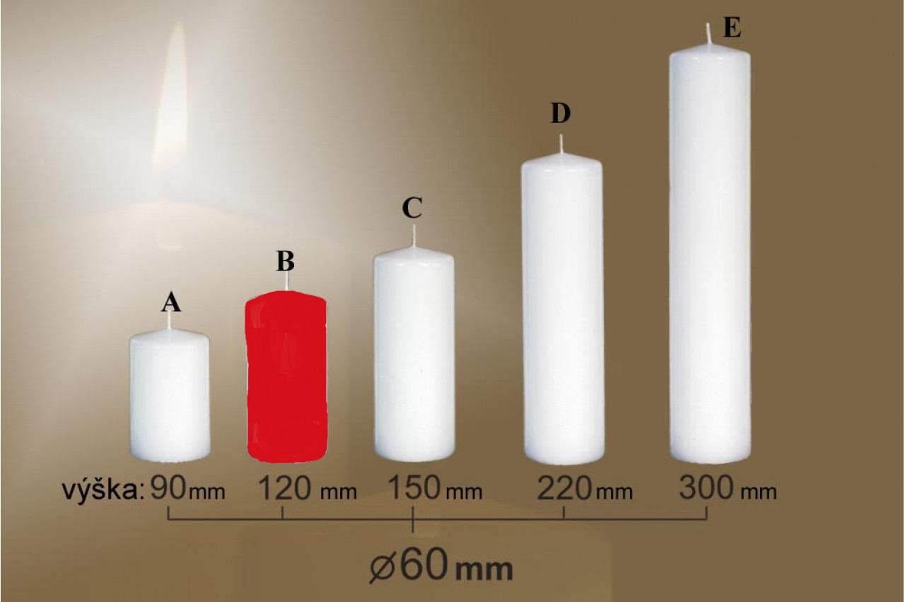 Lima Svíčka hladká červená válec 60 x 120 mm 1 kus