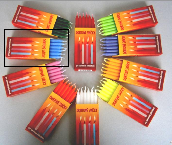 Dortové svíčky Modrá 12 ks 95 x 8 mm