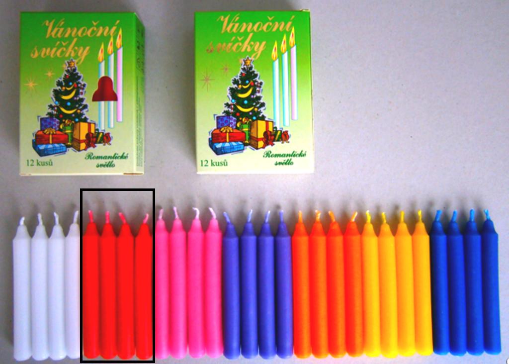 Romantické světlo Vánoční svíčky krabička hoření 90 minut červené 12 kusů