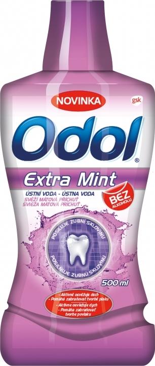 Fotografie Odol Extra Mint ústní voda bez alkoholu 500 ml