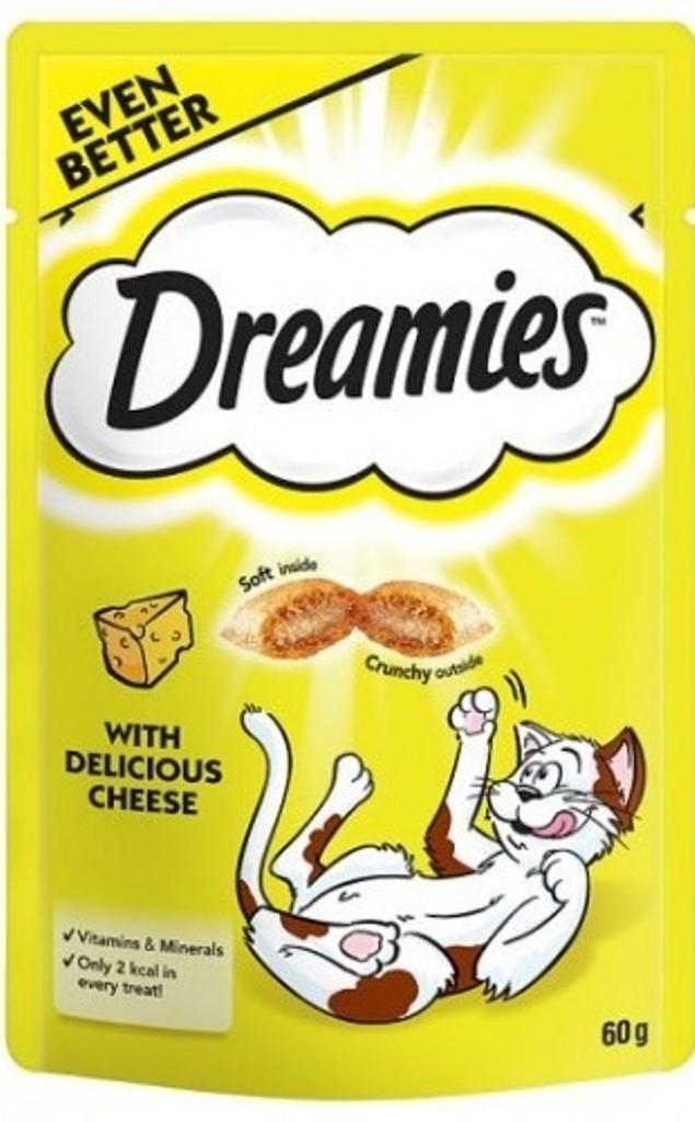 Fotografie Dreamies Cat se sýrem doplňkové krmivo pro kočky 60 g