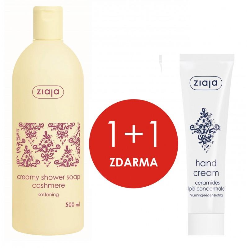 Ziaja Kašmír sprchový krém 500 ml + Ceramidy lipidový koncentrát krém na ruce 100 ml