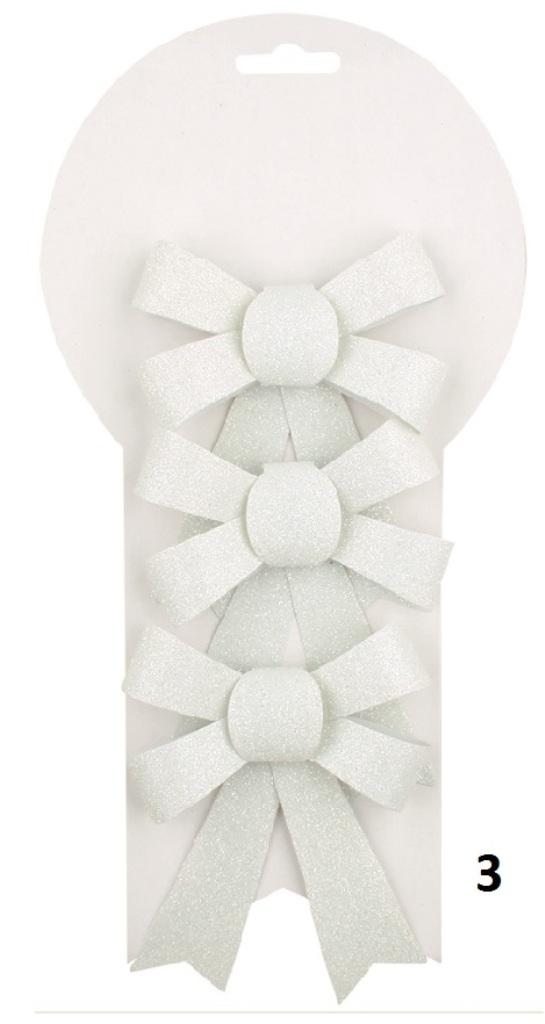 Mašle vánoční glitrová bílá 9,5 cm 3 kusy