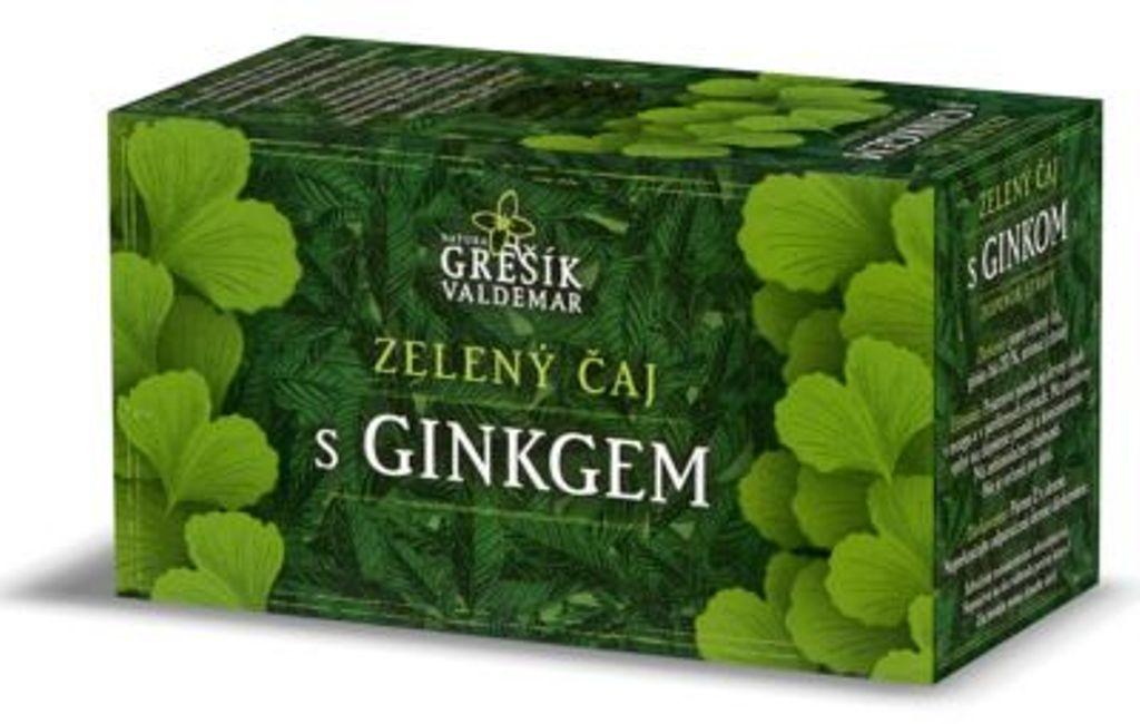 Fotografie Grešík Zelený čaj s ginkgo působí příznivě na zlepšení paměti, krevní oběh v mozku nálevové sáčky 20x1,5 g