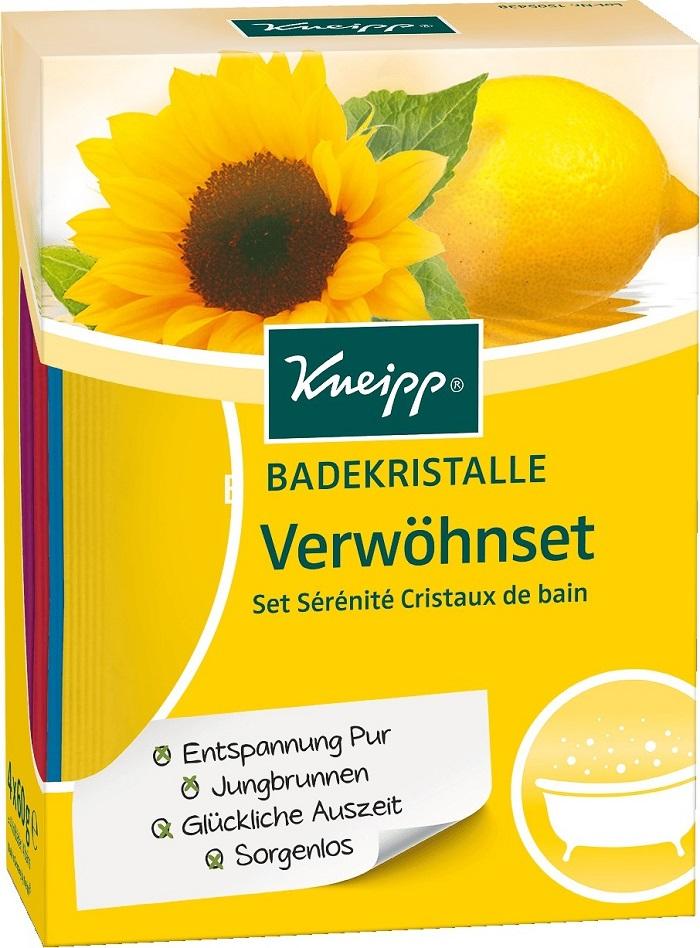 Fotografie Kneipp Citron a slunečnice sůl do koupele 60 g + Červený mák a konopí 60 g + Meduňka 60 g + Granátové jablko a laskavec 60 g, kosmetická sada