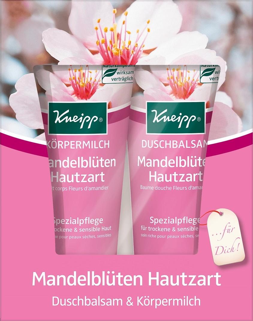 Fotografie Kneipp Mandlové květy sprchový gel 200 ml + tělové mléko 200 ml, kosmetická sada