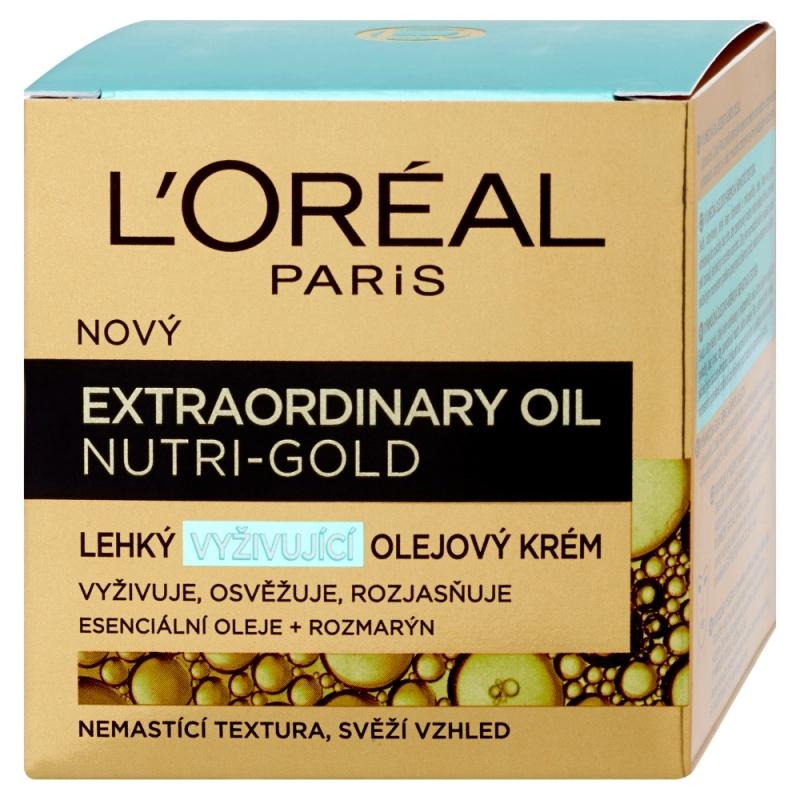 Fotografie L'Oréal Paris Extraordinary Oil Nutri-Gold lehký vyživující olejový krém 50 ml
