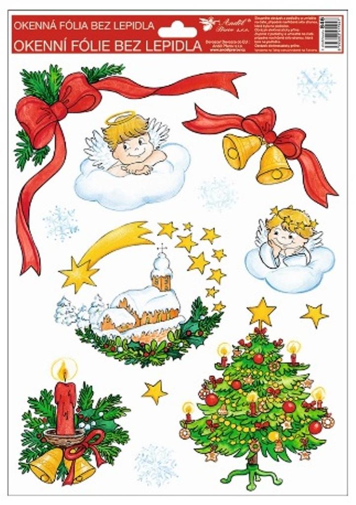 Room Decor Okenní fólie bez lepidla Tradiční motivy andílci 4. vánoční stromek 37 x 26 cm