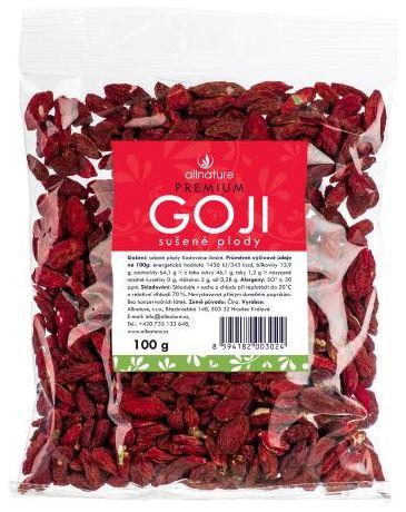 Allnature Goji kustovnice čínská sušené plody symbol zdraví 100 g