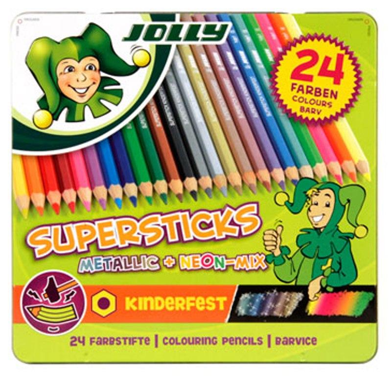 Fotografie Jolly Sada pastelek 12 základních, 8 metalických, 4 neonové barvy 24 ks