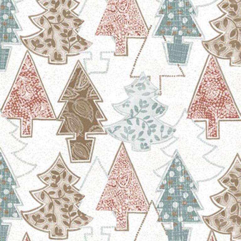 Ditipo Vánoční papírové ubrousky Stromečky hnědé, zelené, červené 33 x 33 cm 3 vrstvé 20 kusů