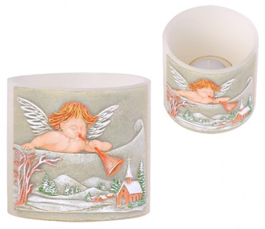 Candles Anděl s trumpetou lampion Válec svícen na čajovou svíčku 100 x 95 mm