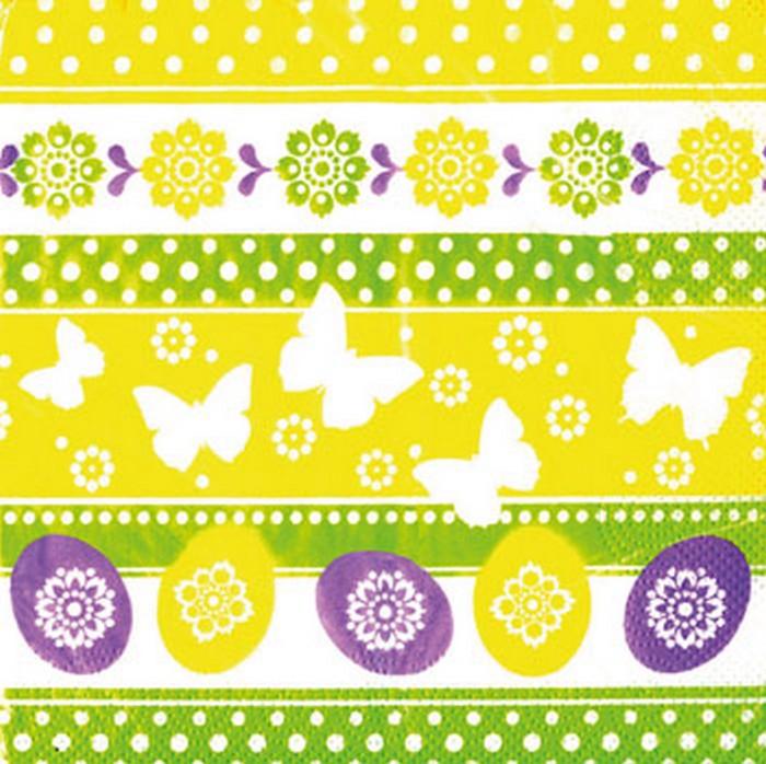 Ditipo Velikonoční papírové ubrousky Vajíčka, motýlci, kytky 3 vrstvé 33 x 33 cm 20 kusů