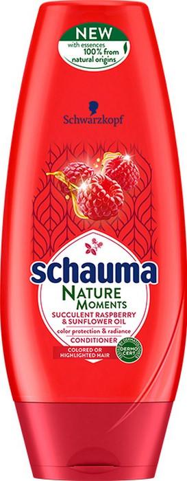 Fotografie Schauma Nature Moments Štavnatá malina a slunečnicový olej pro ochranu barvy a lesk balzám na vlasy 200 ml
