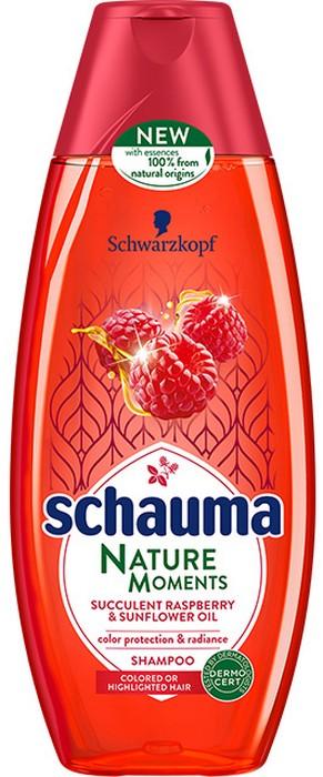 Fotografie Schauma Nature Moments Štavnatá malina a slunečnicový olej pro ochranu barvy a lesk šampon na vlasy 250 ml