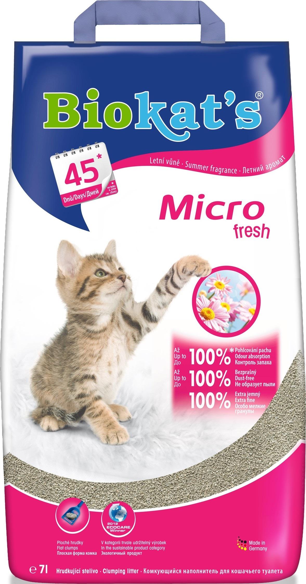 Fotografie Biokats Micro Fresh stelivo pro kočky 100% jemný přírodní jíl 7 l
