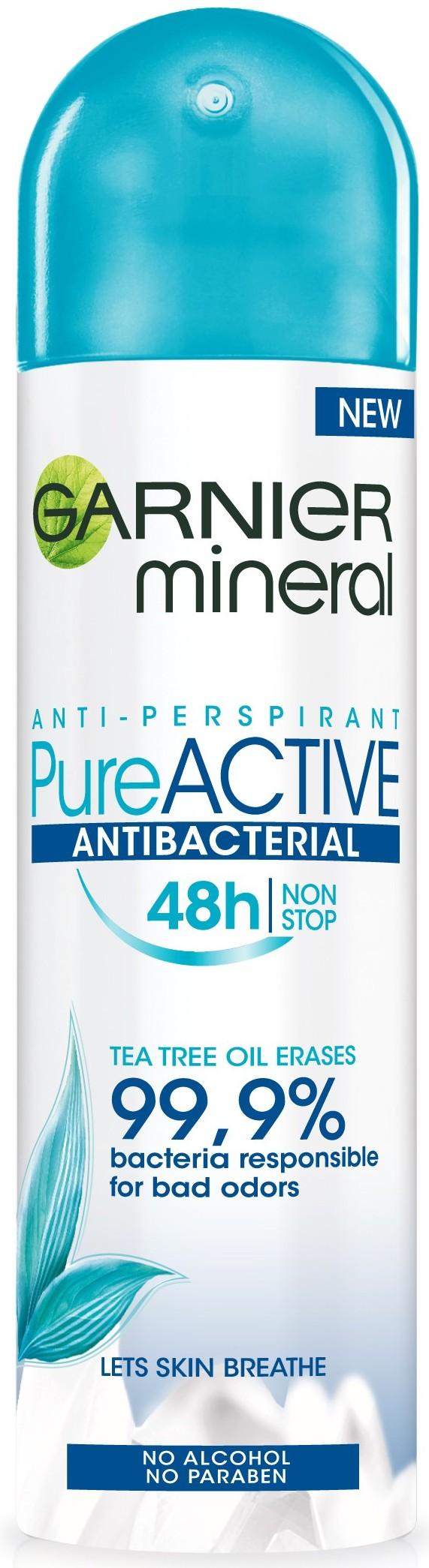 Garnier Mineral Pure Active Antibacterial 48h antiperspitant deodorant sprej pro ženy 150 ml