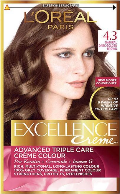 Fotografie L'Oréal Paris Excellence Creme permanentní barva na vlasy 4.3 Hnědá zlatá