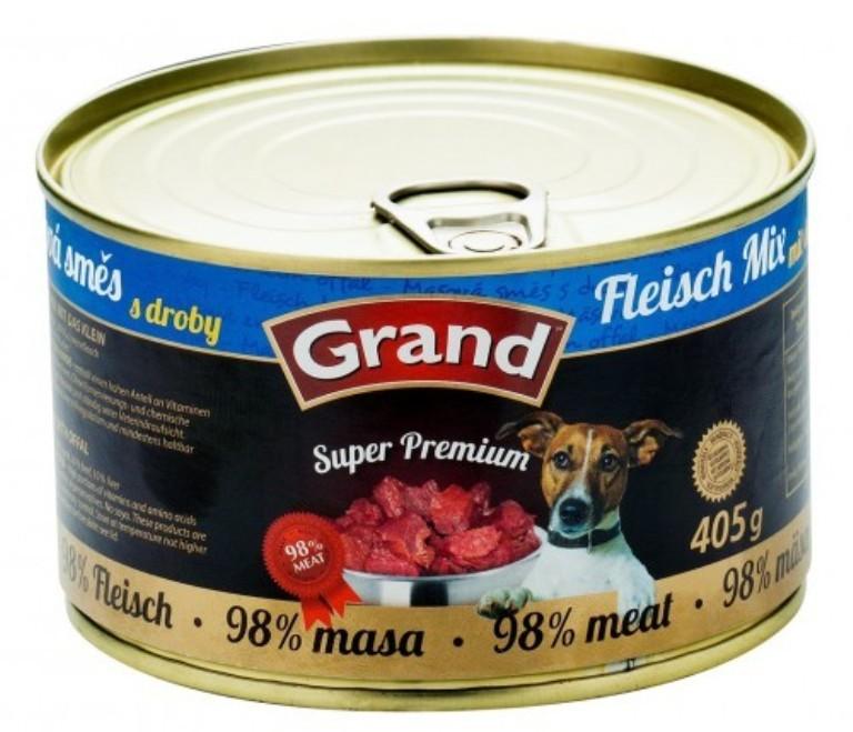 Fotografie Grand Super Premium Masová směs pro psy 98% masa 405 g