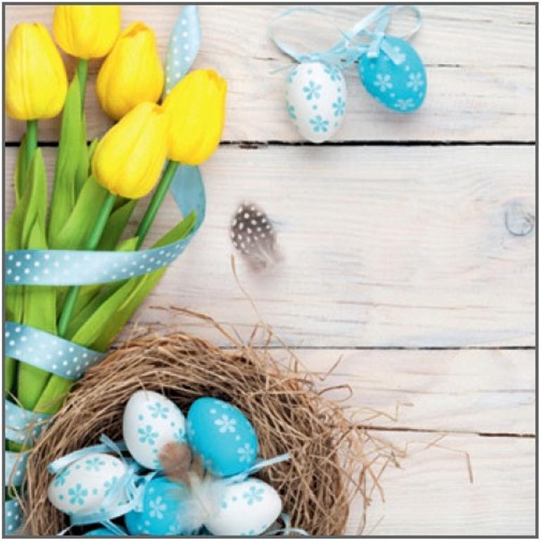 Velikonoční papírové ubrousky žluté tulipány, modrá vajíčka 33 x 33 cm 3 vrstvé 20 kusů