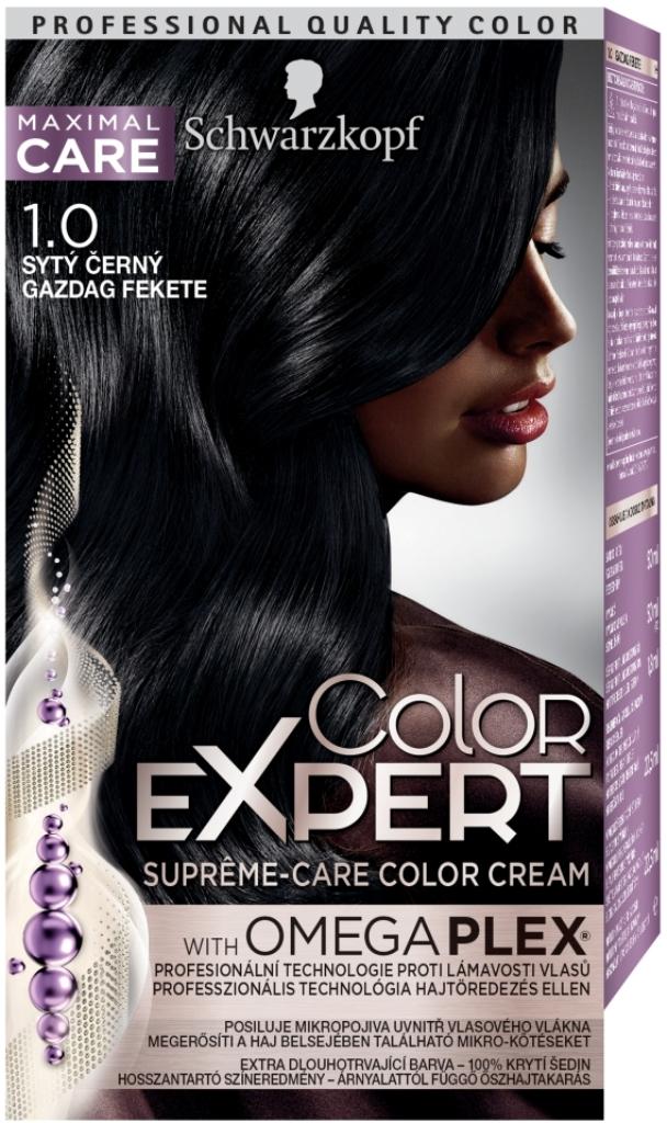 Fotografie Schwarzkopf Color Expert barva na vlasy 1.0 Sytý černý