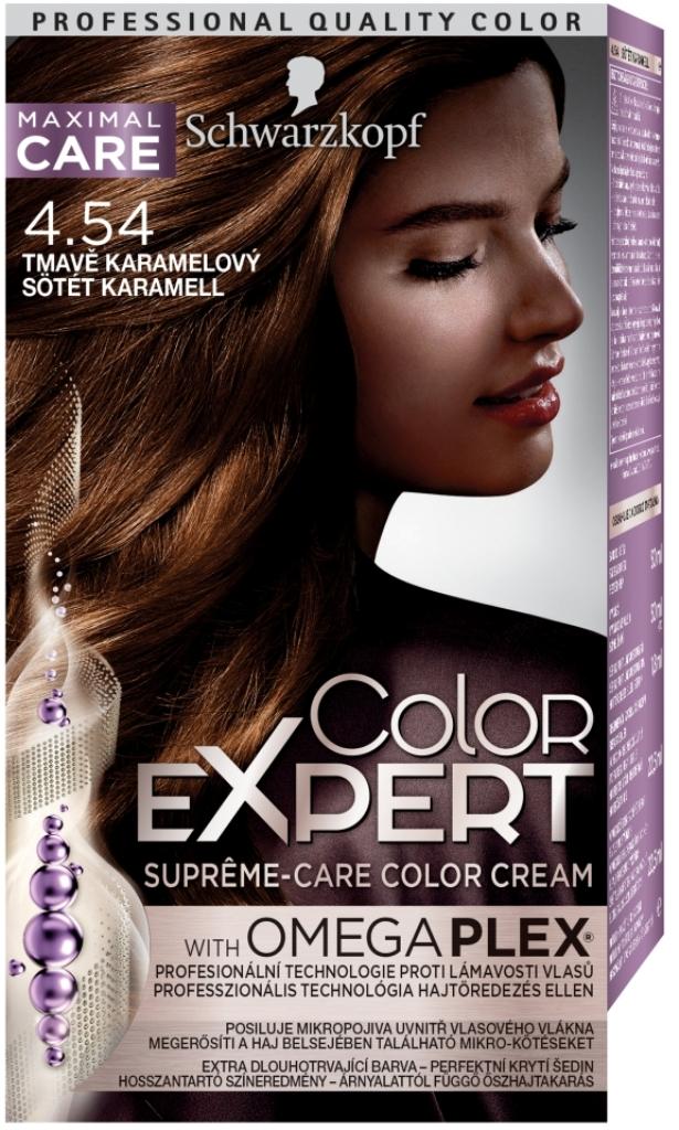 Fotografie Schwarzkopf Color Expert barva na vlasy 4.54 Tmavě karamelový
