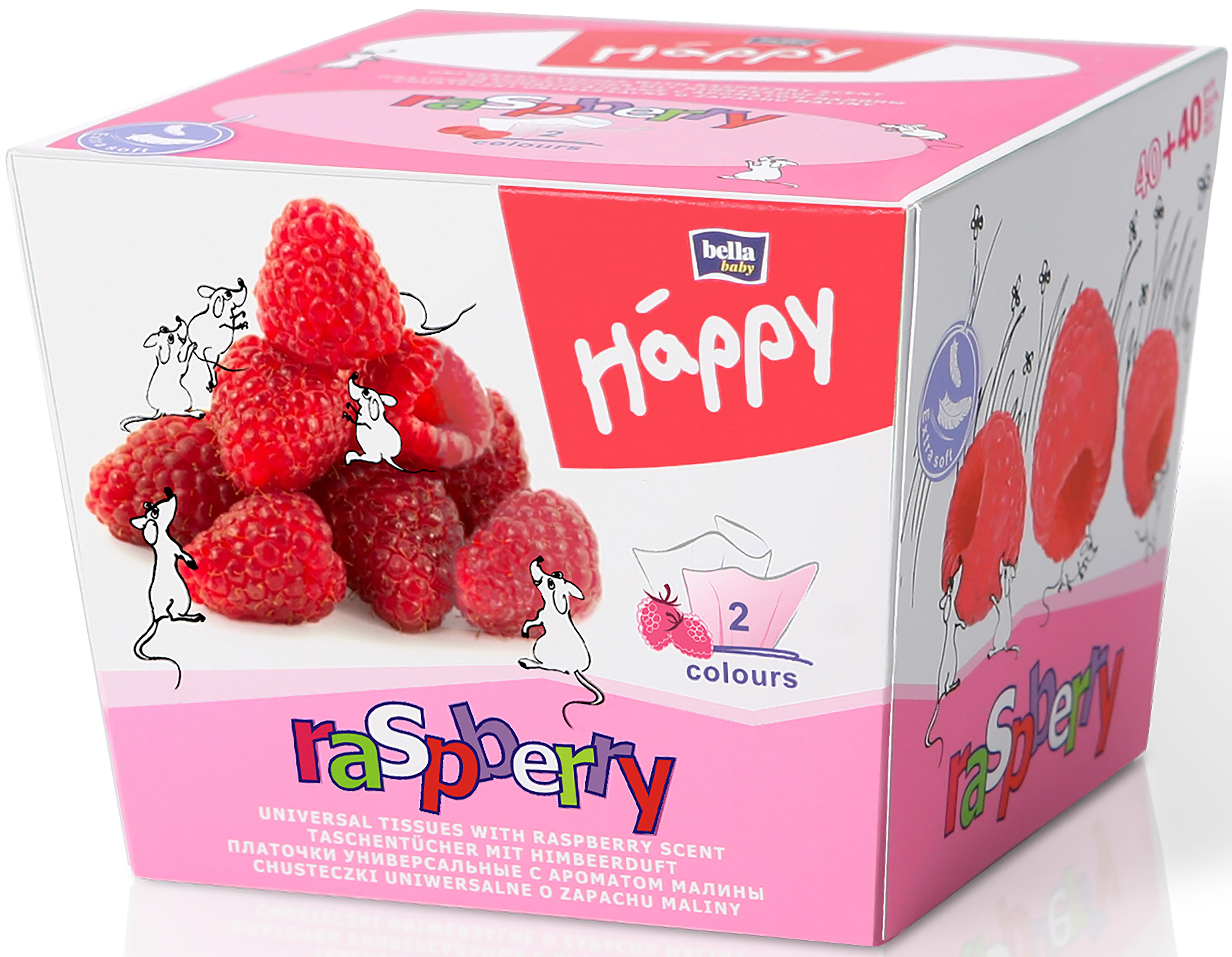 Fotografie Bella Happy Baby Raspberry hygienické kapesníky 2 vrstvé 80 kusů