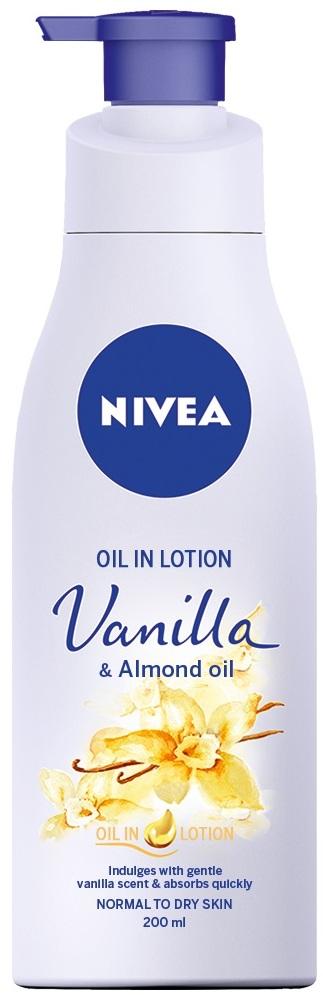 Fotografie Nivea Tělové mléko s olejem Vanilka a mandlový olej (Oil In Lotion Vanilla & Almond Oil) 200 ml