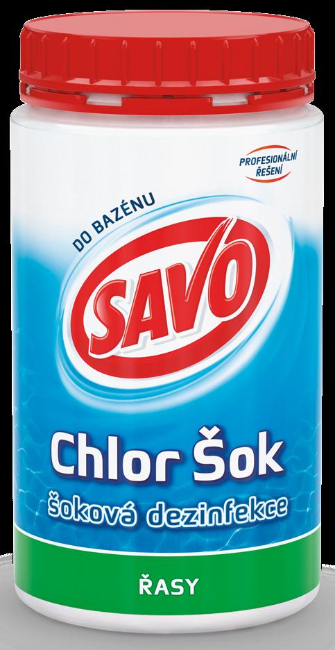 Savo Chlor Šok šoková dezinfekce proti řasám do bazénu 800 g