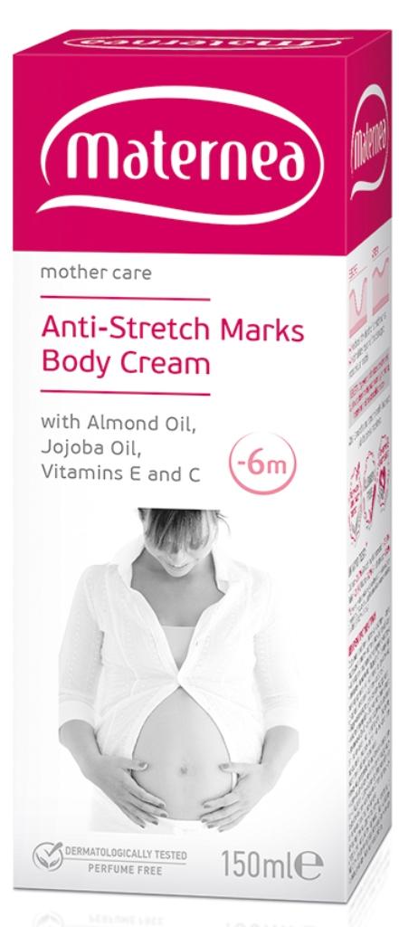 Maternea tělový krém proti strijím, mandlový a jojobový olej, vitamín E a C 150ml