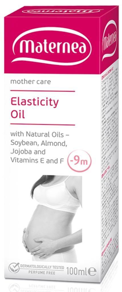 Maternea olej na pružnost pokožky s přírodními oleji – sójový, mandlový, jojobový a vitamíny E a F. 100 ml