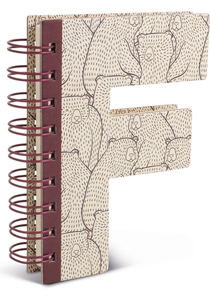 Fotografie If Alphabooks Note Books Zápisník ve tvaru písmena F 91 x 14 x 124 mm