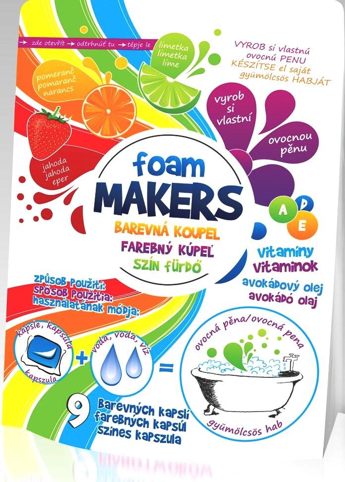 Foam Makers Barevná koupel olejová pěna do koupele v kapslích 9 kusů