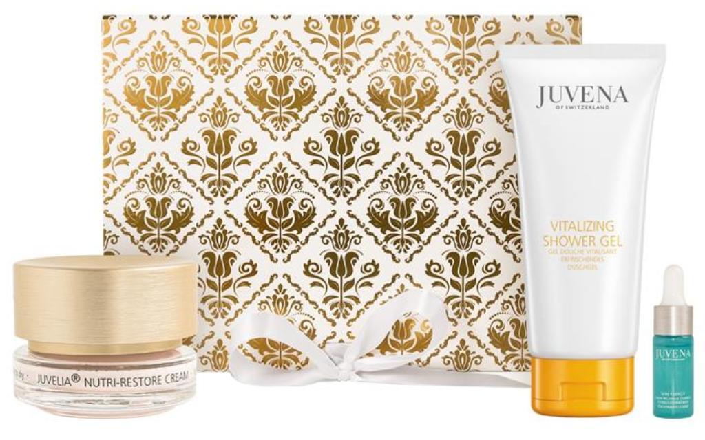 Fotografie Juvena Juvelia Nutri-Restore pleťový krém 50 ml + Vitalizing sprchový gel 200 ml + Aqua Recharge Essence 10 ml, kosmetická sada