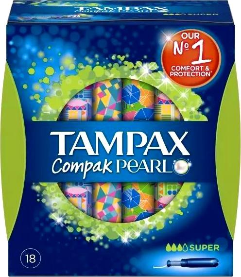 Fotografie Tampax Compak Pearl Super dámské tampony 18 kusů