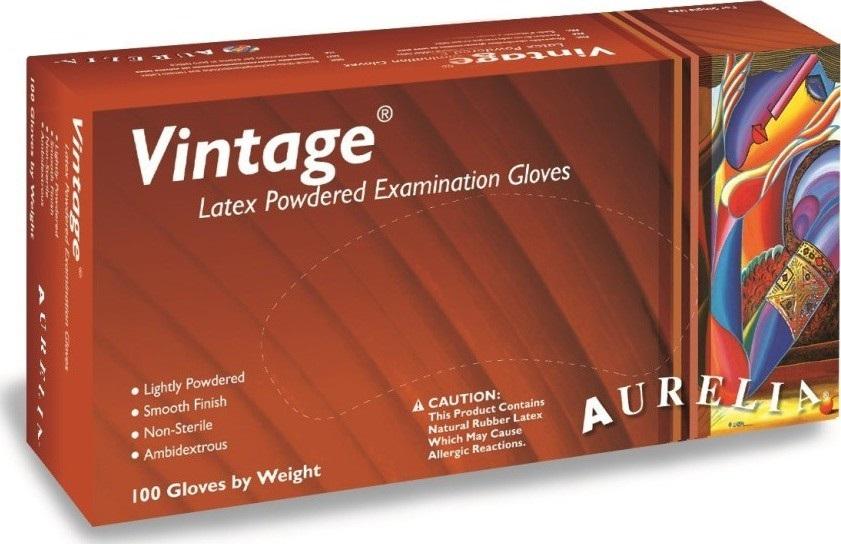 Aurelia Vitage jednorázové latexové rukavice s pudrem velikost S box 100 kusů