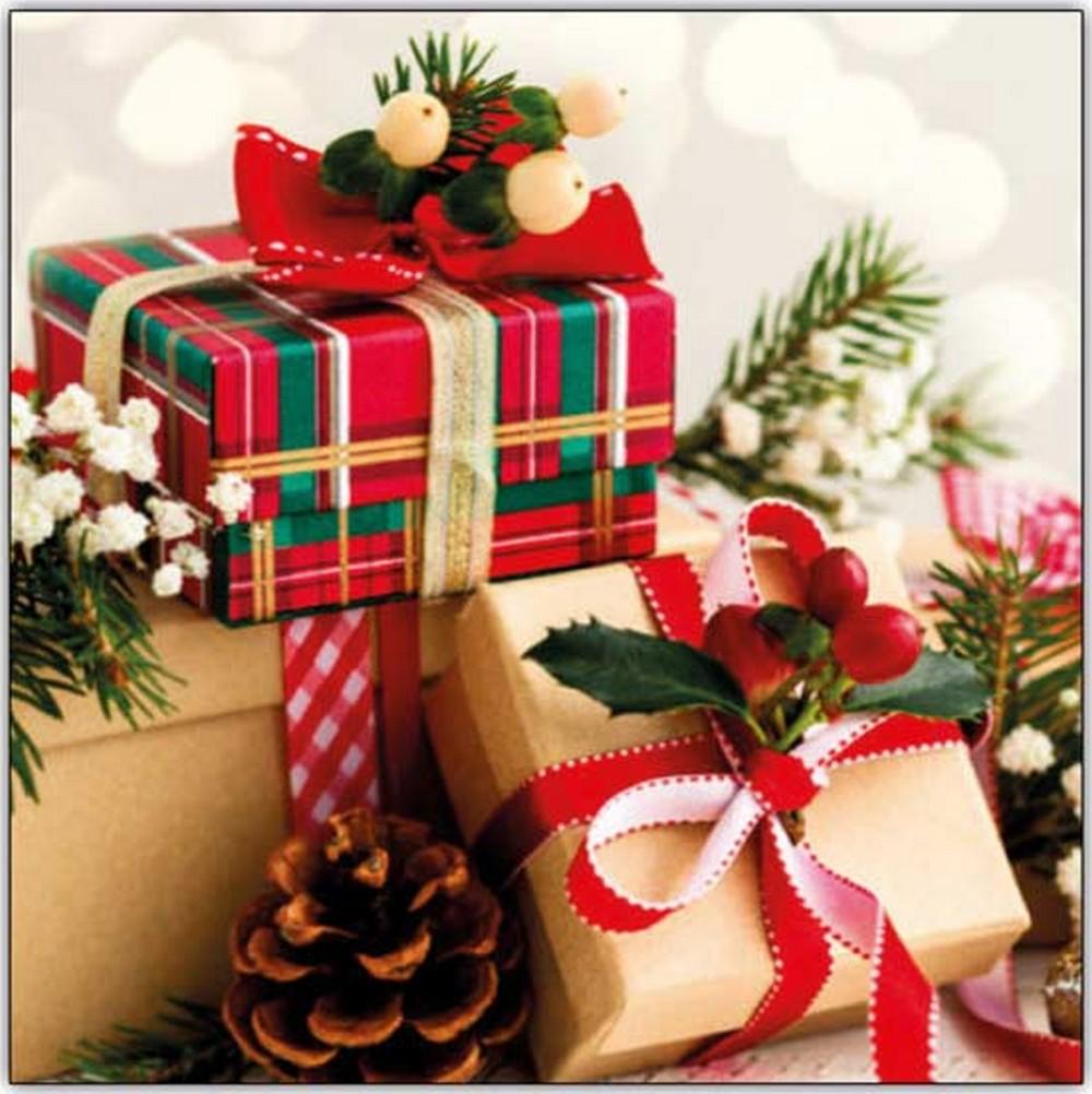 Aha Vánoční papírové ubrousky 3 vrstvé 33 x 33 cm 20 kusů Káro balíček