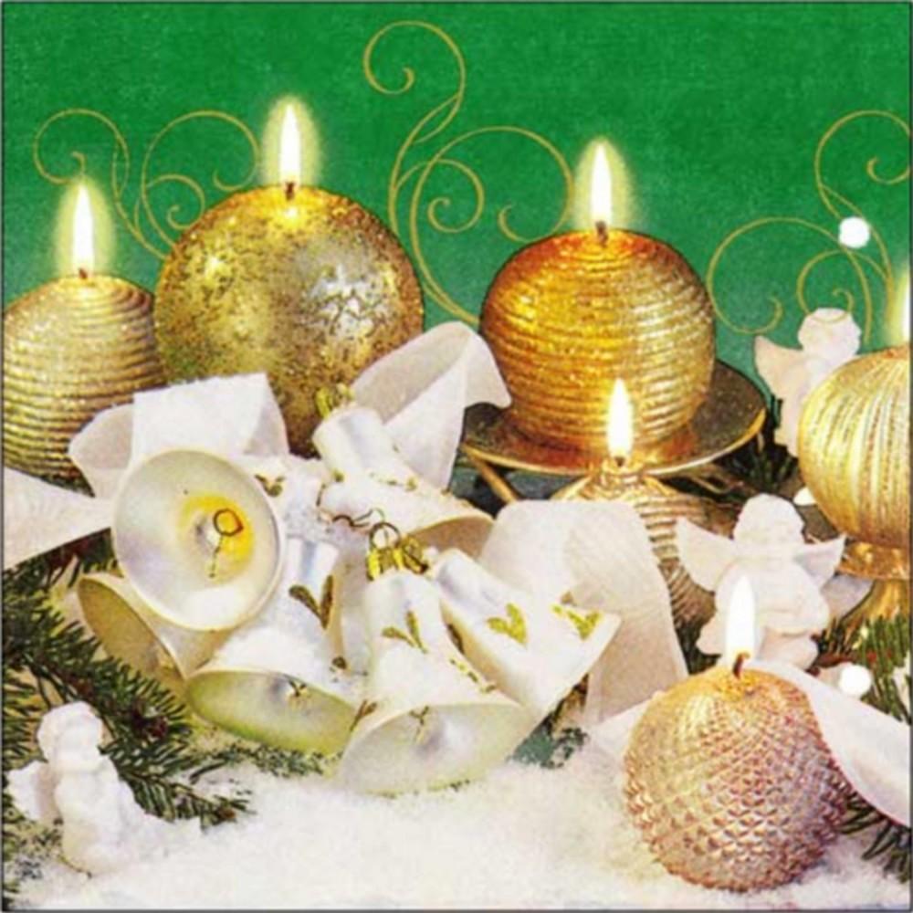 Aha Vánoční papírové ubrousky 3 vrstvé 33 x 33 cm 20 kusů Zlaté svíčky