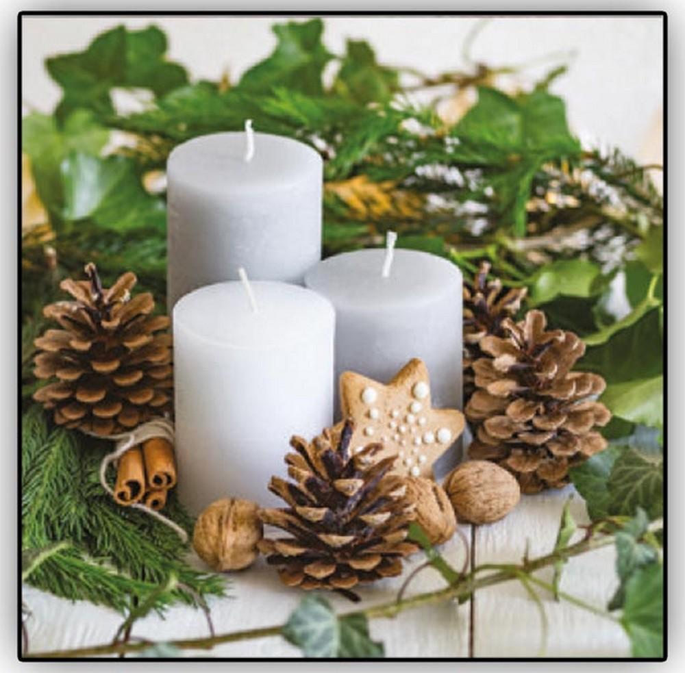 Aha Vánoční papírové ubrousky 3 vrstvé 33 x 33 cm 20 kusů Bílé svíčky