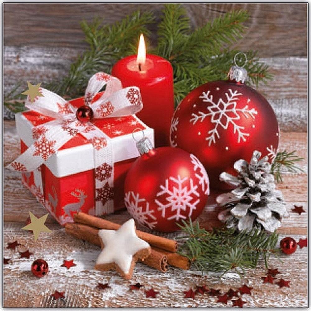 Aha Vánoční papírové ubrousky 3 vrstvé 33 x 33 cm 20 kusů Červené baňky a svíčka