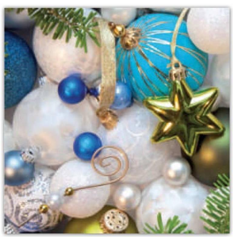Aha Vánoční papírové ubrousky 3 vrstvé 33 x 33 cm 20 kusů Bílé a modré baňky