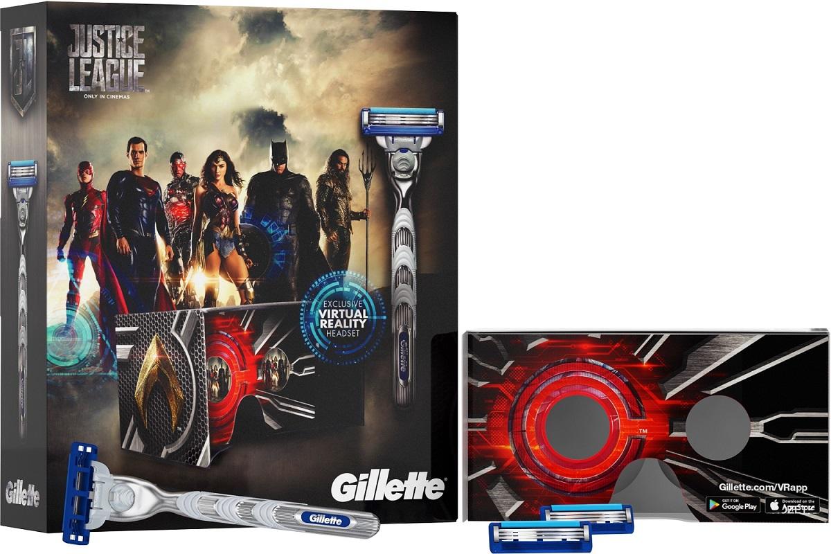 Gillette Mach3 Turbo Justice League holicí strojek pro muže 1 kus + náhradní hlavice 2 kusy + VR Headset, kosmetická sada