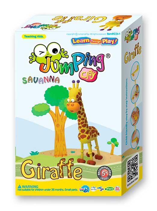 Jumping Clay Savana - Žirafa samoschnoucí modelovací hmota 56 g + papírová maketa + plastové tvořítko 5+