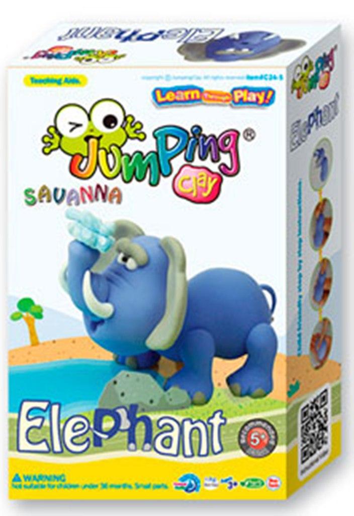 Jumping Clay Savana - Slon samoschnoucí modelovací hmota 56 g + papírová maketa + tvořítko 5+