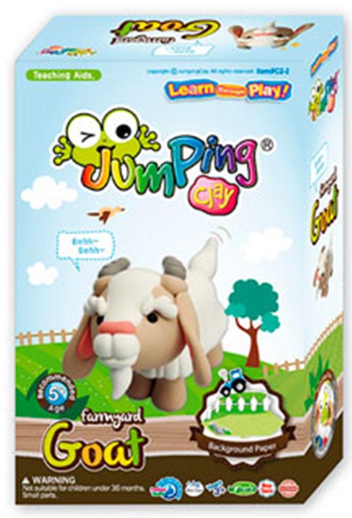 Jumping Clay Farma - Koza samoschnoucí modelovací hmota 51 g + papírová maketa + tvořítko 5+