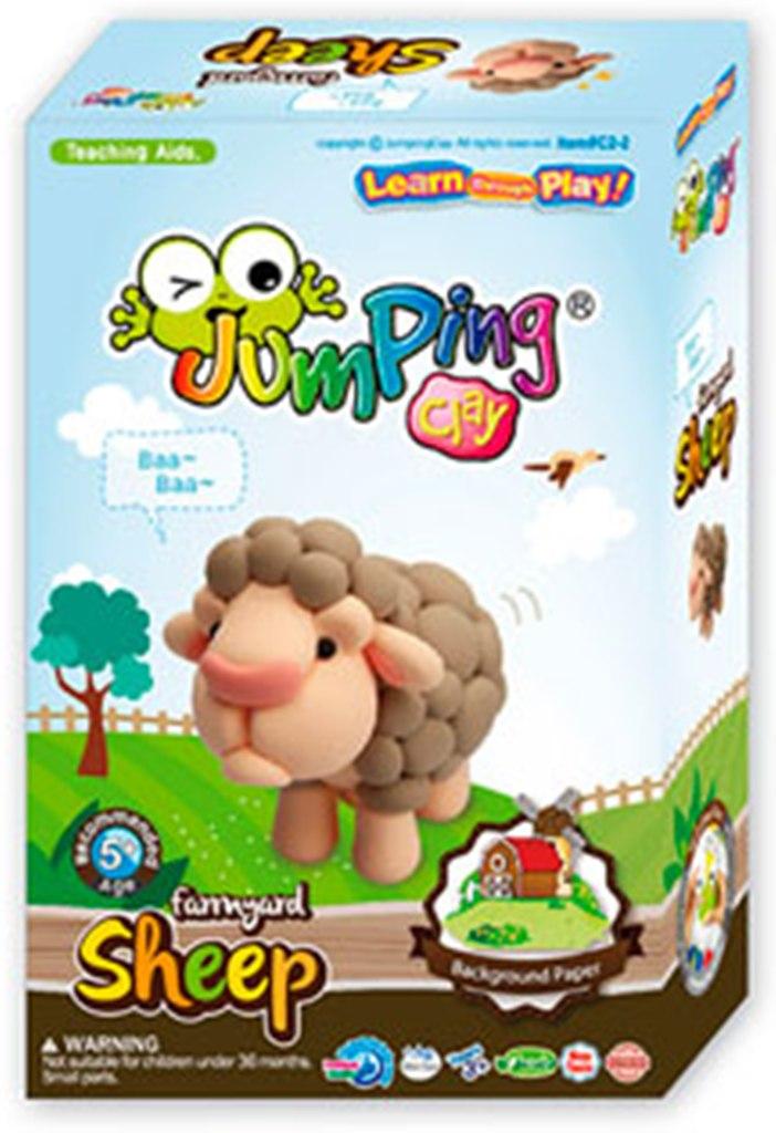 Jumping Clay Farma - Ovečka samoschnoucí modelovací hmota 51 g + papírová maketa + tvořítko 5+