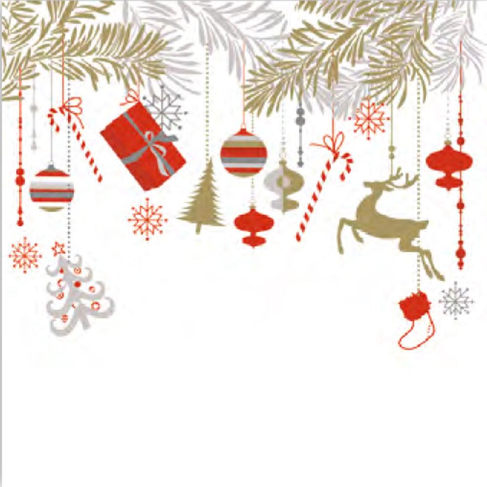 Ditipo Vánoční papírové ubrousky Vánoční girlandy 33 x 33 cm 3 vrstvé 20 kusů